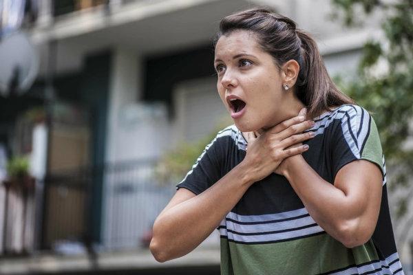 woman choking